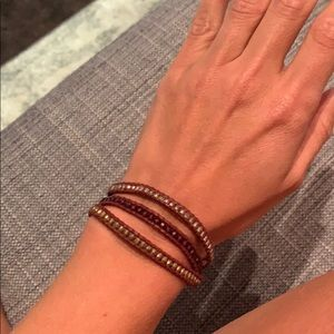 Gold and crystal mix three wrap bracelet